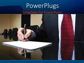 PowerPlugs: PowerPoint template with business man sign white paper document on conference table