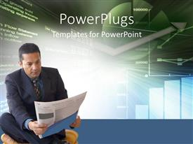 PowerPlugs: PowerPoint template with a business man sitting cross legged on the floor reading a news paper
