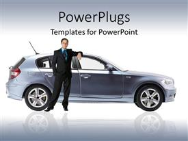 PowerPoint template displaying business man standing against a new metallic gray modern car on glossy mirroring reflective ground