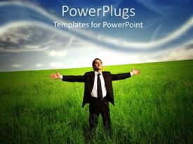 PowerPlugs: PowerPoint template with business man standing in a grass field looking happy