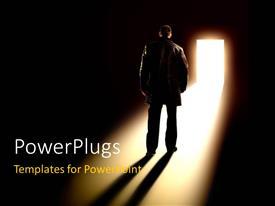 PowerPlugs: PowerPoint template with business man standing looks towards open door with glowing light