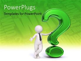 PowerPlugs: PowerPoint template with business man standing near a green question mark with questions