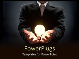 PowerPlugs: PowerPoint template with business man in suit holding light bulb