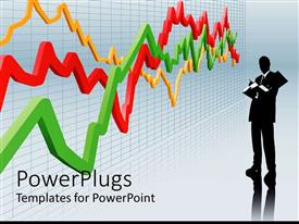 PowerPoint template displaying business man in suit standing next to large line chart in red, yellow, green