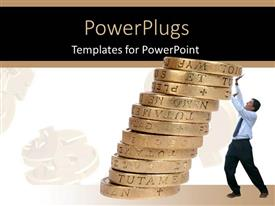 PowerPoint template displaying business man supporting pile of coins to prevent them from falling