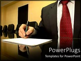 PowerPoint template displaying business man taking notes on paper at conference room table in board room, meeting, executive