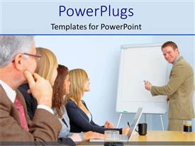 PowerPlugs: PowerPoint template with business man in tan suit making business presentation
