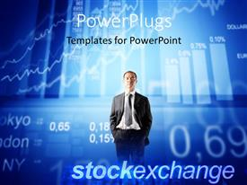 PowerPlugs: PowerPoint template with a business man with a text that spells out the word 'stockexchange '