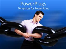 PowerPlugs: PowerPoint template with business man trying to link two heavy black chains together