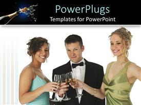 PowerPlugs: PowerPoint template with business man with two pretty ladies drinking and celebrating