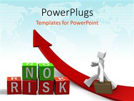 PowerPlugs: PowerPoint template with business man walking on red arrow takes path of NO RISK