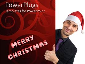 PowerPlugs: PowerPoint template with a business man wearing a Christmas cap on a white background