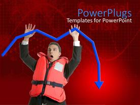 PowerPoint template displaying business man wearing lifesaver jacket with raised hands holding falling blue arrow