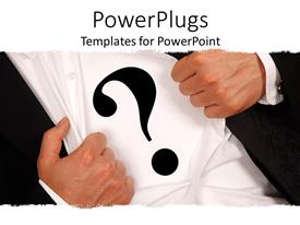 PowerPlugs: PowerPoint template with business man wearing a question mark sign on his shirt