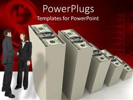 PowerPlugs: PowerPoint template with business man and woman shake hands next to stacks of hundred dollar bills