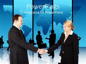 PowerPlugs: PowerPoint template with business man and woman shaking hands with world map in background