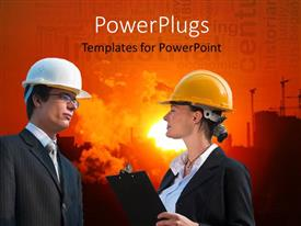 PowerPlugs: PowerPoint template with a business man and woman wearing helmets having a conversation