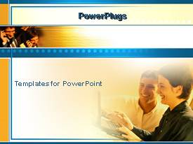 PowerPlugs: PowerPoint template with business man and woman working on laptop, smiling and laughing