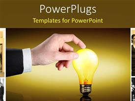 PowerPlugs: PowerPoint template with man touches glowing light bulb with collage of business professionals