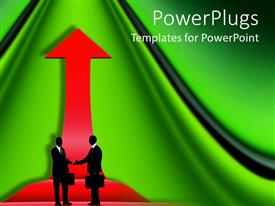 PowerPoint template displaying business men carrying briefcase shake hands with red arrow showing direction