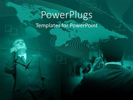 PowerPlugs: PowerPoint template with business men on cell phones with world map background