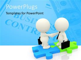 PowerPlugs: PowerPoint template with business men closing a deal standing on puzzle pieces and Business Contract in the background