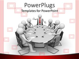PowerPlugs: PowerPoint template with business men having meeting round table with one presenting