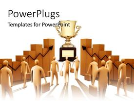 PowerPlugs: PowerPoint template with business men heading towards goal trophy aiming for success with white background