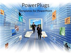 PowerPlugs: PowerPoint template with business men running email internet global collaboration work technology blue skies