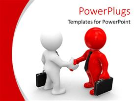 PowerPlugs: PowerPoint template with business men shaking hands collaboration deals