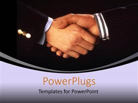 PowerPoint template displaying business men shaking hands on grey and black background