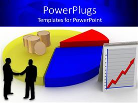 PowerPlugs: PowerPoint template with business men shaking hands with stack of gold coin on colored pie chart