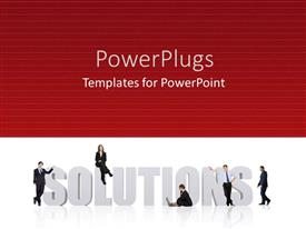 PowerPlugs: PowerPoint template with business men solutions red background problems planning strategy team work