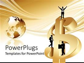 PowerPlugs: PowerPoint template with business men standing on gold dollar sign, gold globe world