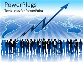 PowerPlugs: PowerPoint template with business men standing over globe nd growth chart pointing upwards