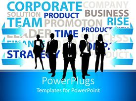 PowerPlugs: PowerPoint template with business men and women dressed formally pose on blue and white background