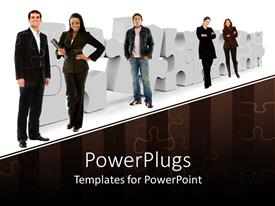 PowerPoint template displaying business men and women posses in front of jigsaw puzzle pieces