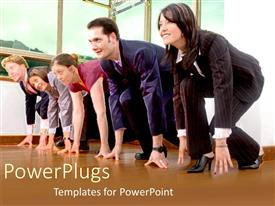 PowerPlugs: PowerPoint template with business men and women racing on a track as a metaphor suits