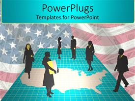 PowerPlugs: PowerPoint template with business men and women walking on USA map