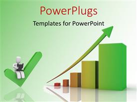 PowerPlugs: PowerPoint template with a graph with an arrow and greensih background