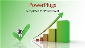PowerPoint template displaying a graph with an arrow and greensih background