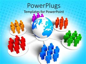 PowerPlugs: PowerPoint template with business metaphor with groups of 3D people in different colors standing around globe