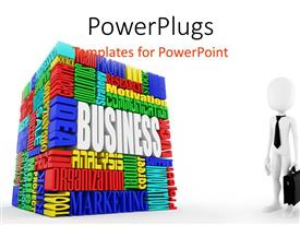 PowerPlugs: PowerPoint template with what is a business metaphor with word block, businessman with tie and brief case