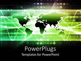 PowerPoint template displaying business networking communications theme with flat world map and graph