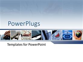 PowerPlugs: PowerPoint template with business objects with keys, typing on keyboard, shaking hands, office building, water droplet, hand holding globe, charts