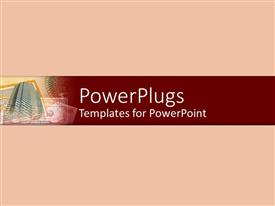 PowerPoint template displaying business office skyscraper on money bills, currency on salmon red background
