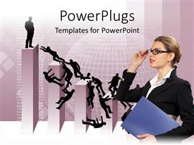 PowerPoint template displaying a business oriented employee with the development background