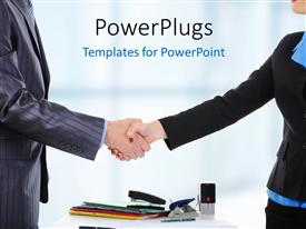 PowerPlugs: PowerPoint template with business partnership concept using business partners shaking hands with documents