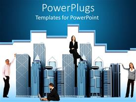 PowerPoint template displaying business people around office buildings, woman man business suits office buildings