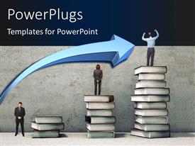 PowerPoint template displaying business people on books pile looking for new opportunities with blue color